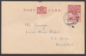 BASUTOLAND 1934 GV 1d postcard commercially used TEYATEYANENG to Morija....N366