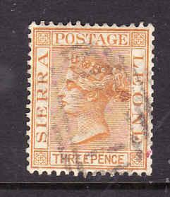 Sierra Leone-Sc#28-used 3p orange yellow-QV-1892-