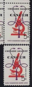 1263 - Misperf Error / EFO Plate# Block Crusade Against Cancer Mint NH