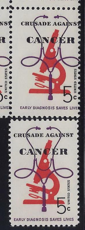 1263 - Misperf Error / EFO Plate# Block Crusade Against Cancer Mint NH