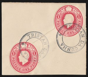 TRISTAN DA CUNHA 1921 Precursor use GB KGV 1d diag connected postal stationery.