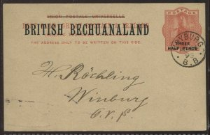 Bechuanaland and new value overprinted on GB 1d used Post Card, H&G PC-8