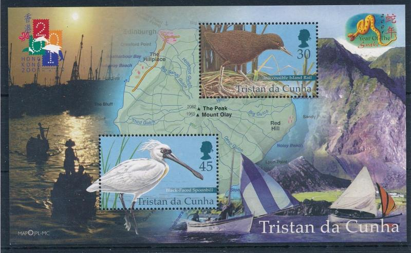 [52345] Tristan da Cunha 2001 Birds Vögel Map Island Boats light toned MNH S/S