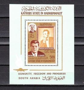 Aden-Kathiri, Mi cat. 164, BL14 A. President John Kennedy s/sheet. ^