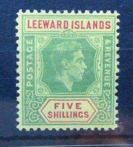 Leeward Islands 1938 - 1951 5s Green & Red on Yellow MM Sg112b
