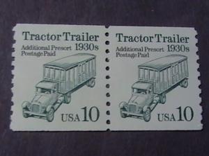U.S.# 2457-MNH---COIL PAIR--TRACTOR TRAILER---BUREAU PRECANCEL---1991