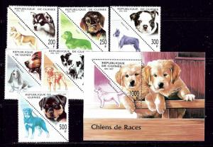 Guinea 1410-16 MNH 1997 Dogs set with souvenir sheet