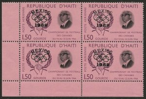 Haiti 1968 Mexico Surcharge MISSING '1968' Variey Error BLOCK #C288 VF-NH