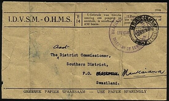 SWAZILAND 1948 OHMS cover Education Dept to Mankaiana......................23626