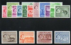 Mauritius 1953 QEII set complete superb MNH. SG 293-306. Sc 251-265.