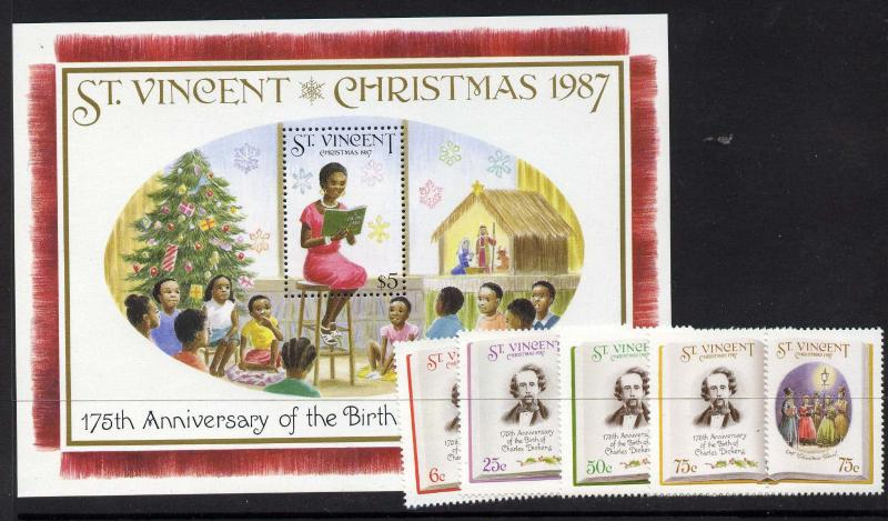 St Vincent 1061-5 MNH A Christmas Carol, Charles Dickens