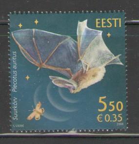 Estonia Sc 589 2008 Bat stamp mint NH