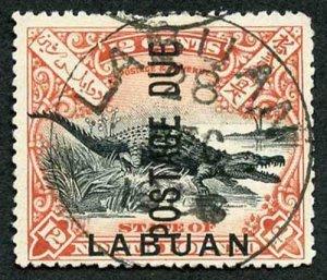 LABUAN SGD7b 190 12c black and vermilion perf 14.5-15 Postage Due