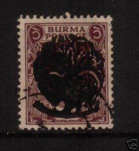 BURMA 1942  1a TYPE 1 PEACOCK O/P   SG J5 FU