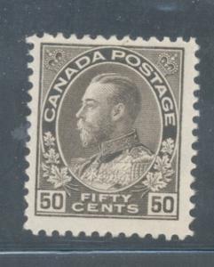 Canada Sc 120 1925 50c blk brn G V Admiral stamp mint
