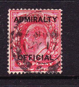 GB 1903  1d  KEVII ADMIRALTY FU  SG O102