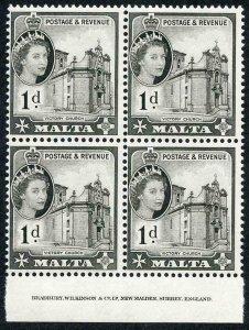Malta SG268 1d Black U/M imprint Block