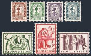 Belgium B592-B598,MNH.Michel 1047-1053. Anti tuberculosis works,1956.Ship-Cross,