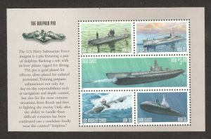 3373-3377 Submarines US Booklet Pane Of 5 Mint/nh FREE SHIPPING