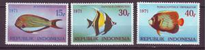 J21047 Jlstamps 1971 indonesia set mh #810-12 fish
