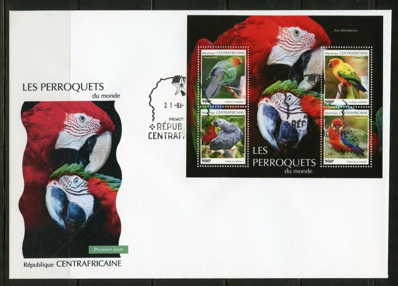 CENTRAL AFRICA 2019 PARROTS SHEET FIRST DAY COVER