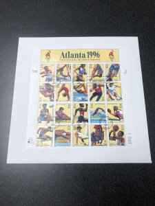 US FDC 3068 Atlanta '96 Summer Olympic Souvenir Sheet 1996 First Day Of Issued