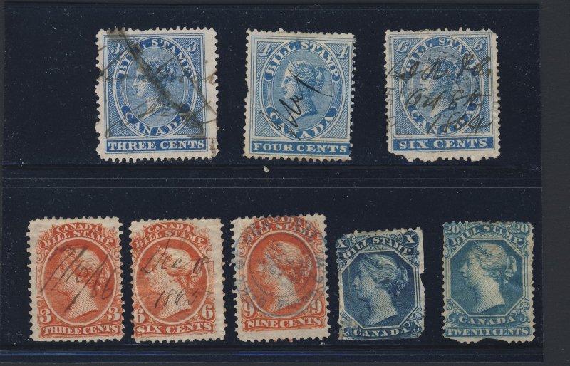 6x Canada Revenue Bill Stamps #FB3-4-6-20-23-26 +2-Fillers  Guide Value = $43.00
