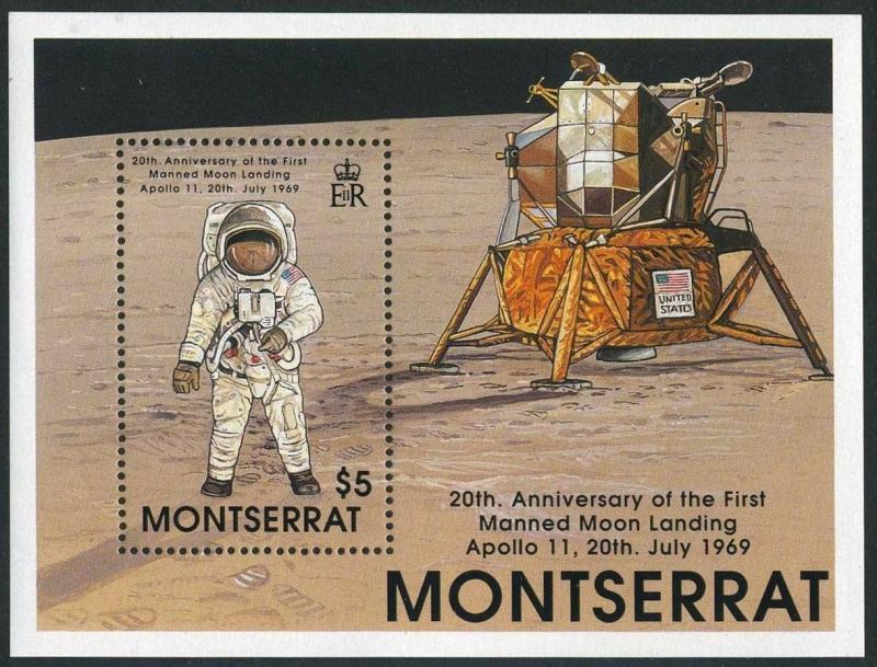 Montserrat 726-729,730,MNH.Mi 757-760,Bl.54. First Moon Landing,20th Ann.1989.