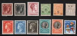 Luxembourg ~ Group of 12 Different Stamps - Unused, MX hinge use