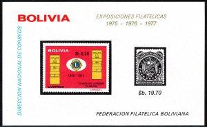 Bolivia S/S, MNH. Lions Intl. in Bolivia, 25th anniv. Emblem, 1975