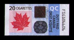 CANADA, QC (QUEBEC) REVENUE 2011 TOBACCO TAX 20 CIGARETTES DUTY PAID STAMP,