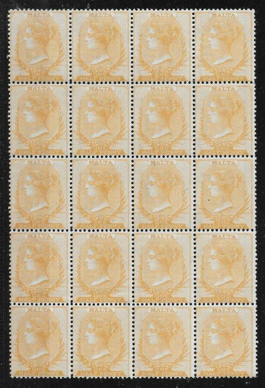 MALTA SG10 1870-8 ½d YELLOW-BUFF p14 WMK CC MNH BLOCK OF 20