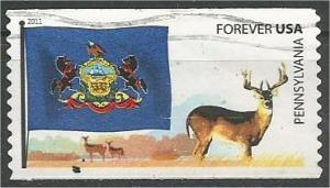 UNITED STATES, 2011, used Coil, Flag Pennsylvania Scott 4317-22