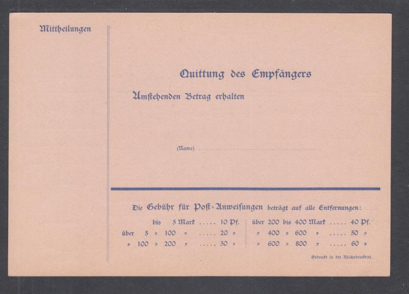 Germany Mi A14II mint 1900 20pf blue Germania indicium on rose paper MONEY ORDER