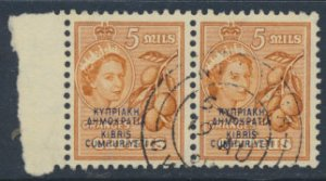 Cyprus  SG 190  SC# 185 Used pair OPT Cyprus Republic see detail and scan