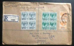 1949 Penang BMA Malaya Registered cover to St George Bermuda