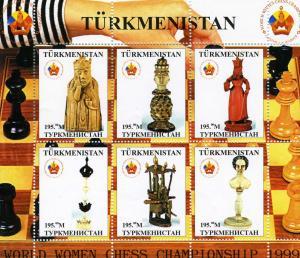 Turkmenistan Chess World Women Championship 1999 Sheet (6) Perforated mnh.vf