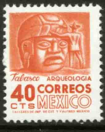 MEXICO 1090, 40c 1950 Defin 9th Issue Unwmkd Fosfo Coated MINT, NH. F-VF.
