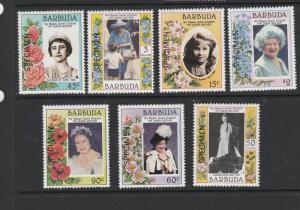 Barbuda 1985 Queen Mother set of 7 Optd SPECIMEN UM/MNH SG 776/82
