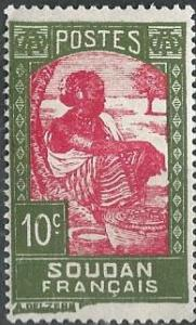 French Sudan 66 (mh) 10c Sudanese woman, ol grn & rose (1931)