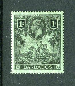 Barbados 1912. 1s black/green. Mint Hinged. SG178.