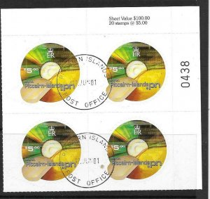 PITCAIRN ISLANDS SG599 2001 $5 INTERNET DOMAIN BLOCK OF 4 FINE USED