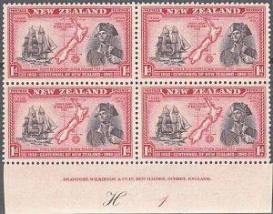 NEW ZEALAND 1940 Centenary 1d Captain Cook plate block MNH CP cat NZ$40.....K489