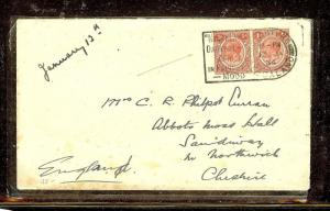NYASALAND (P1110B) KGV 1D PR 1934 COVER BLANTYRE TO ENGLAND