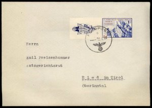 3rd Reich Germany French Legion Vignette Donation Stamp Feldpost Cover 96479