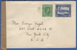 W607 - ANTIGUA Scarce WWII Censored Cover, Type S2 (2) EXAMINED BY CENSOR mark