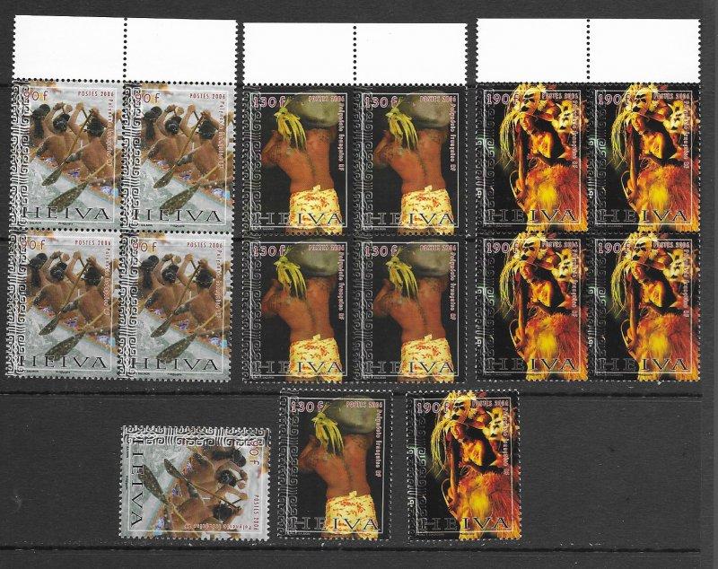 French Polynesia 922-4  MNH set x 5 ea.,. vf see desc. 2020 CV$43.75