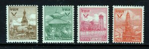 NEPAL 1949 Temples Group to 8p. Red SG 64 to SG 67 MINT