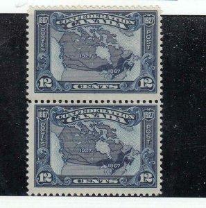 CANADA (MK5093) # 145 VF-MNH  12cts MAP OF CANADA PAIR 1867-1927/ DK BLUE CV $70