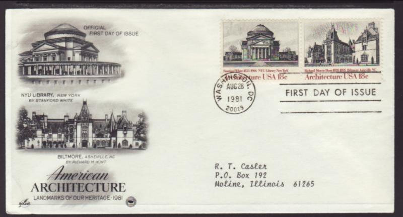 US NYU Library Architecture 1981 PCS Typed FDC BIN